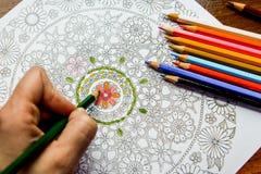 Libro de colorear antiesfuerzo en el proceso del dibujo Fotografía de archivo