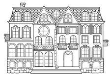 Libro de colorear blanco y negro del vector para los adultos Edificio de varios pisos del estilo rural con los apartamentos, los  libre illustration