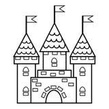 Libro de colorear, castillo stock de ilustración