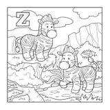 Libro de colorear (cebra), alfabeto descolorido para los niños: letra Z Fotografía de archivo libre de regalías