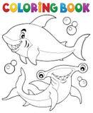 Libro de colorear con dos tiburones stock de ilustración