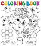 Libro de colorear con el apicultor stock de ilustración