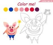 Libro de colorear con el cerdo que sostiene el palillo mágico stock de ilustración