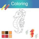 Libro de colorear con el ejemplo del vector de la página de las ilustraciones del esquema de los animales stock de ilustración