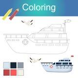 Libro de colorear con el ejemplo del vector de la página de las ilustraciones del esquema de los animales libre illustration