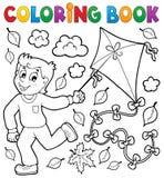 Libro de colorear con el muchacho y la cometa stock de ilustración