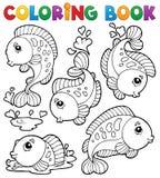 Libro de colorear con el tema 1 de los pescados Fotografía de archivo