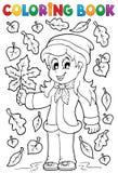 Libro de colorear con el tema 2 del otoño stock de ilustración