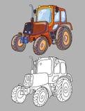 Libro de colorear con el tractor Imagenes de archivo