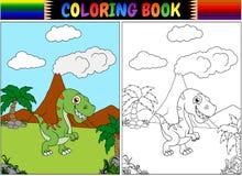 Libro de colorear con la historieta del tiranosaurio Foto de archivo
