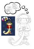 Libro de colorear con la muchacha que sueña sobre los regalos de la Navidad Foto de archivo libre de regalías