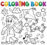Libro de colorear con la muchacha y la cometa Fotos de archivo