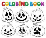 Libro de colorear con las calabazas 3 de Halloween stock de ilustración