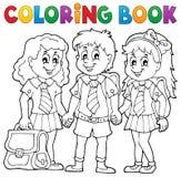 Libro de colorear con los alumnos de la escuela stock de ilustración
