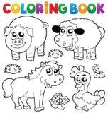 Libro de colorear con los animales del campo 5 Fotografía de archivo