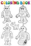 Libro de colorear con los diversos robots Imagen de archivo libre de regalías