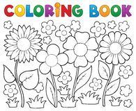 Libro de colorear con tema de la flor stock de ilustración