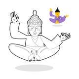 Libro de colorear de Buda Buddha meditating Dios indio Buda en wh libre illustration