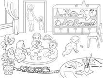 Libro de colorear de la guardería para el ejemplo del vector de la historieta de los niños Fotos de archivo