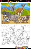 Libro de colorear de la historieta de los animales de los marsupiales Fotos de archivo