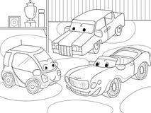 Libro de colorear de la historieta de los niños para los muchachos Vector el ejemplo de un garaje con los coches vivos Fotos de archivo