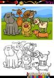 Libro de colorear de la historieta del grupo de los perros Foto de archivo libre de regalías