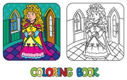 Libro de colorear de la reina o de la princesa de hadas de la belleza stock de ilustración