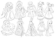 Libro de colorear de las muñecas de la historieta Imagen de archivo