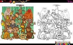 Libro de colorear de los caracteres del mono Foto de archivo libre de regalías