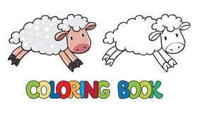Libro de colorear de pequeñas ovejas divertidas Fotos de archivo