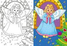 Libro de colorear del ángel de la Navidad Fotografía de archivo