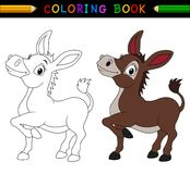 Libro de colorear del burro de la historieta Fotos de archivo libres de regalías