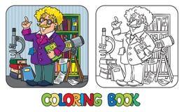 Libro de colorear del científico o del inventor divertido Imágenes de archivo libres de regalías