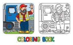 Libro de colorear del conductor o del trabajador divertido libre illustration