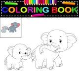 Libro de colorear del elefante stock de ilustración