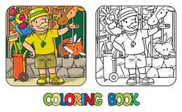 Libro de colorear del encargado de parque zoológico divertido con el loro Foto de archivo