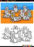 Libro de colorear del grupo de los caracteres de los gatos ilustración del vector