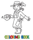 Libro de colorear del jardinero divertido de la mujer Fotografía de archivo libre de regalías