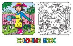 Libro de colorear del jardinero divertido de la mujer Fotos de archivo