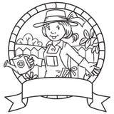 Libro de colorear del jardinero divertido de la mujer emblema Foto de archivo