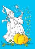 Libro de colorear del mago From Tale Cinderella Imagen de archivo libre de regalías