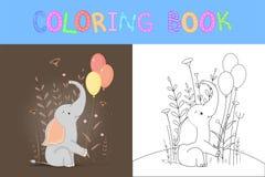 Libro de colorear del ` s de los ni Tareas educativas para el elefante lindo de los ni?os preescolares stock de ilustración