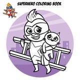 Libro de colorear del super héroe Carácter cómico aislado en el fondo blanco Fotografía de archivo libre de regalías
