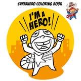 Libro de colorear del super héroe Carácter cómico aislado en el fondo blanco Imágenes de archivo libres de regalías