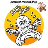 Libro de colorear del super héroe Carácter cómico aislado en el fondo blanco Imagen de archivo