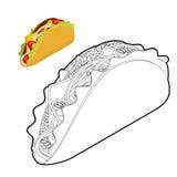 Libro de colorear del taco Comida mexicana tradicional en estilo linear A Imagen de archivo libre de regalías