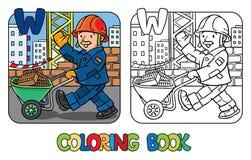 Libro de colorear del trabajador de construcción Alfabeto W ilustración del vector