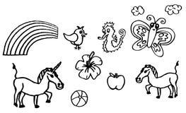 Libro de colorear - dibujos sobre aficiones con un unicornio y una mariposa para los niños también disponibles como dibujo del ve ilustración del vector