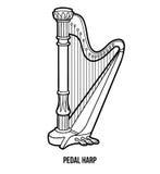 Libro de colorear: instrumentos de música (arpa del pedal) Imagenes de archivo