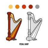 Libro de colorear: instrumentos de música (arpa del pedal) Foto de archivo